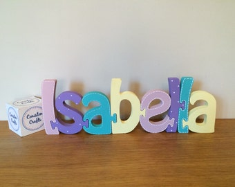 Name jigsaw, personalised name, wooden gift for new baby, christening, birth, childs birthday Wooden Jigsaw - pastel shades