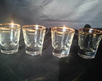 Set of 4 Vintage Gold Rim Shot Glasses