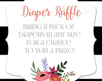 Floral and Peach Diaper Raffle Ticket Black and White Stripe DIY or Printed Custom Made to Match Coordinating Baby Shower Printables