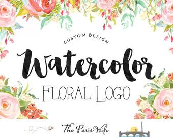 custom wreath logo design floral wreath logo photography logo website logo blog logo wreath leaf logo business logo circular logo watermark