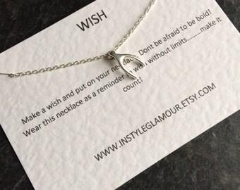 Wishbone Necklace, Silver Wishbone Necklace, Lucky Charm Necklace