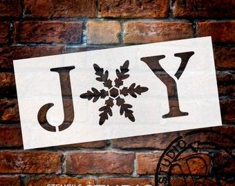 Joy - Vintage Serif w/ Snowflake -  Word Stencil - Select Size - STCL1262 by StudioR12