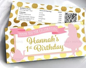 Alice Wonderland, Alice Wonderland Chocolate, Candy Bar Wrapper, Hershey, aldi, First, Pink Gold, Birthday Party, Digital, Printable