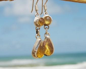 Dominican Blue Amber Dangle Earrings Sterling Silver Teardrop Round Caribbean Sunshine Green Purple stone 925 OOAK