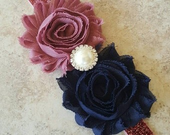 Navy & Mauve Newborn Headband - Glitter Headband -Sparkly Baby Bow - Mauve headband - Navy Blue Baby Headband - Shabby Flower  Headband