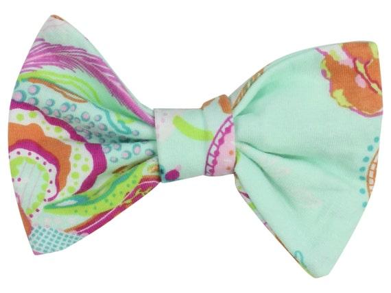 Aqua Floral Baby Hair Clip Toddler Hair Bow Clip Pink Floral Bow Clip Aqua Floral Hair Clip Bow Classic Hair Bow Floral Toddler Hair Clip