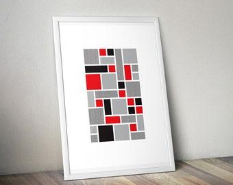 "Abstract Geometric Poster ""Tetris"" Print"