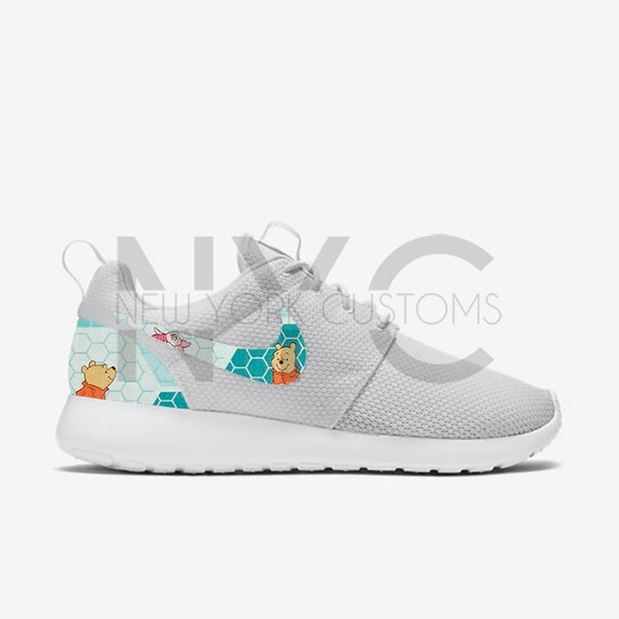 c2dd27b3423 Winnie the Pooh Nike Roshe Run Triple White Custom by NYCustoms best ...