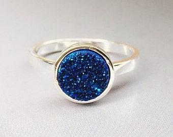 Druzy Ring,Drusy Ring,Druzy Quartz,Agate Ring,Stone ring,Gemstone ring,Sparkle ring,Stacking,drusy,Druzy,Silver ring,Blue Druzy Ring