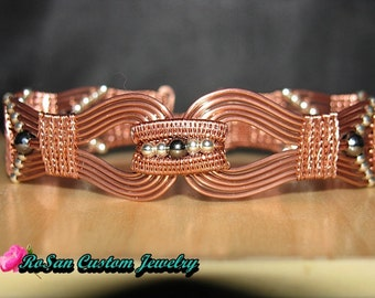 Copper and Sterling Silver Wire Woven Bracelet,Copper Woven,Cuff Bracelet,Bracelet for women