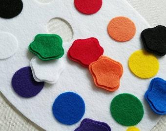 DIGITAL FILE Color Matching Painter's Palette Felt Board Set / Felt Board Templates / Flannel Board Stories, Felt Board Pieces