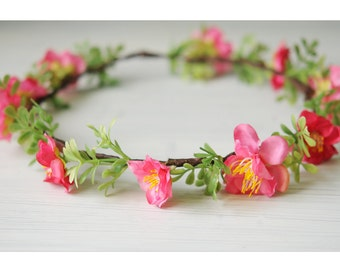 Pink and green wreath.