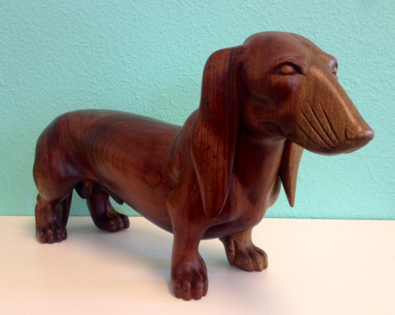Vintage Wooden Wiener Dog Wood Carving Statue Of Dachshund