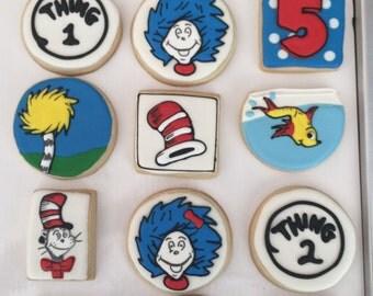 12 CAT inspired vanilla sugar cookies - birthday - boy - girl - baby shower - teacher - 1st birthday twins celebration - reading book