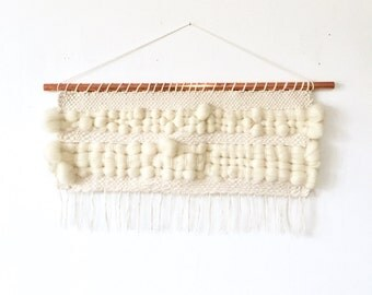 "Wall hanging, woven wall hanging, copper dowel, weaving wall hanging, cream and natural white, 24.75"" x 18.25"".#79"