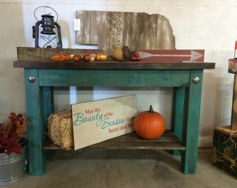 Turquoise Sofa Table- FREE SHIPPING