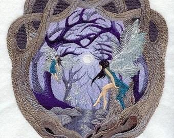 MIDNIGHT DREAM FOREST Fairies Scene Fantasy Fae Machine Embroidered Quilt Square, Art Panel