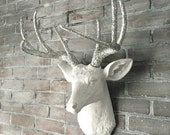 ANY COLOR or WHITE Faux Deer Head Wall Mount // Deer Antlers // Stag // Rustic Decor // Faux Taxidermy // Fake Animal Heads // Cabin Decor