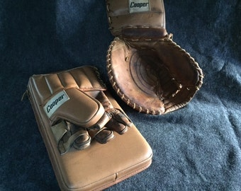 Vintage Cooper hockey goalie glove and blocker
