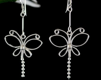 Sterling Silver Earrings, Sterling Silver Dangle Earrings, Long Drop Earrings, Butterfly Earrings, Long Silver Earrings