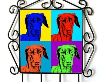 Dobermann- clothes hanger with an image of a dog. Collection. Andy Warhol Style