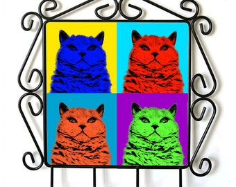 Selkirk rex shorthaired- clothes hanger with an image of a cat. Collection. Andy Warhol Style