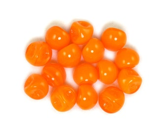 Orange opaline 9 x 8mm button beads. Set of 15 or 30.