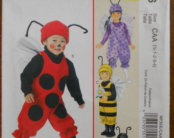 McCall's MP 366.   McCall's 6180.  Children bug costumes. Halloween bug costumes. Ladybug, bee and spider.  Size 1/2  infant to 4 toddler.