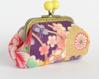 Hand crafted in Australia, floral Japanese coin purse with yellow bead clasp