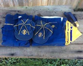 lot of 2 1950s cub scount uniforms with some accessories