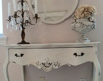 Antique French Vanity Desk with Mirror