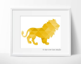 Yellow Lion Print, Triangle Geometric Wall Art,  Safari Nursery, Playroom Decor