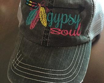 Gypsy Soul Arrow Feather mesh back distressed baseball cap FREE SHIPPING