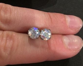 Clear Swarovski Crystal Petite Silver Studs