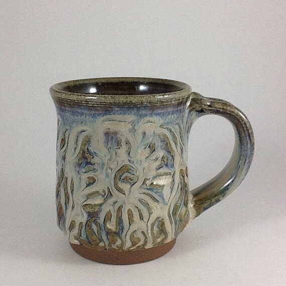 Pottery mug blue ceramic mug sun design by charlotteleepottery for Handmade mug designs