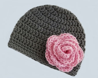 Baby Girl Hat, Crochet Baby Hat, Newborn Beanie, Baby Newborn Hat, Baby Girl Beanie, Ready to Ship, Grey Pink, Baby Girl, Newborn Baby Hat