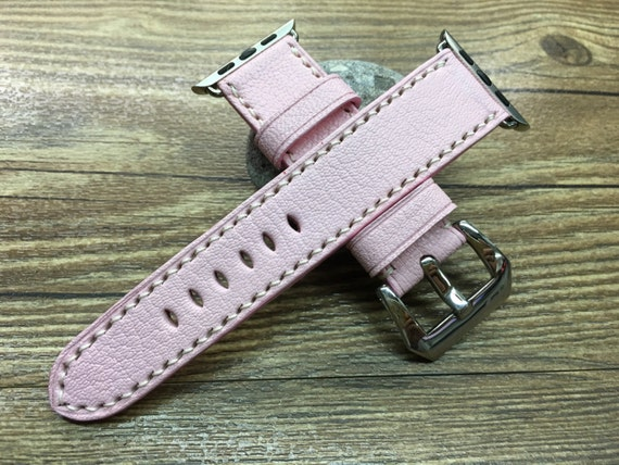 Apple Watch Band | Apple Watch Strap | Leather Watch Strap | Leather Watch Band | Pink Leather Watch Band For Apple Watch 38mm & 42mm
