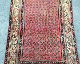 """3'3.5""""x 4'11"""" Antique Persian Rug"""