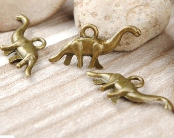 lead and nickel free--- 100pcs 12x27mm antiqued bronze/silver Dinosaur pendant zinc alloy charms findings