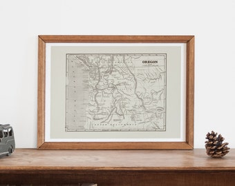 Vintage Oregon Map Antique Map Of Oregon Professional Reproduction