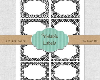 Printable Labels: Black and White Damask digital labels, printable frames, buffet labels, storage labels, party labels, table numbers, cards