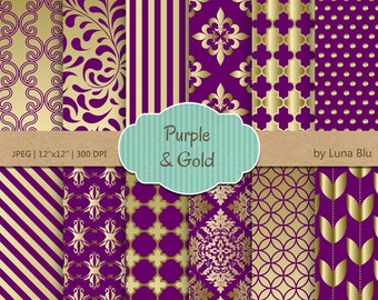 Purple and gold digital paper purple and gold patterns for Carrelage quadrilobe