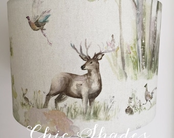 Enchanted Forest Side Stag Fabric Lampshade 20 cm
