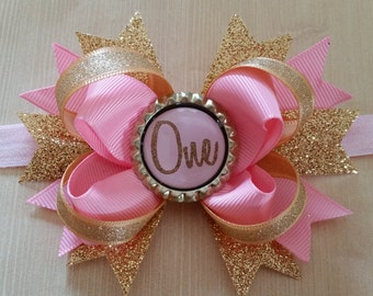 Pink & Gold babys 1st birthday bow/ headband.  ONE