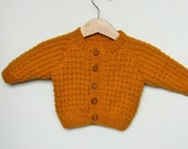 Handmade Knitted Baby Cardigan/Sweater Size 3-6 Month/20 Inches in Mustard Yellow with Wooden Buttons,Baby Gift Hand Knit, Baby Boy