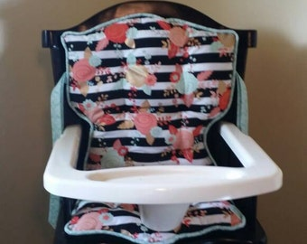 Mint & Coral Floral Custom Eddie Bauer or Safety First High Chair Pads, High Chair Cover, Highchair Pads, Replacement Pads, Baby Shower Gift