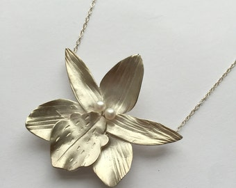 Handmade Silver and Pearl Orchid Flower Necklace