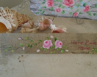 Beautiful Hand Painted Shabby Chic Home Sweet Home Sign Gorgeous Background Cottage Chic Shabby Chic Cottage