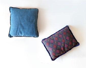 Vintage Boho Denim and Purple Fringed Geometric Throw Pillow Set