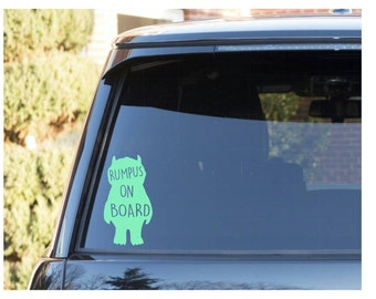 Baby on board| Rumpus on board decal| Rumpus decal| Where the Wild Things Are decal| Rumpus sticker| Baby On Board decals| car decals